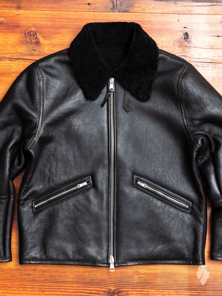 Shearling Flight Jacket in Black