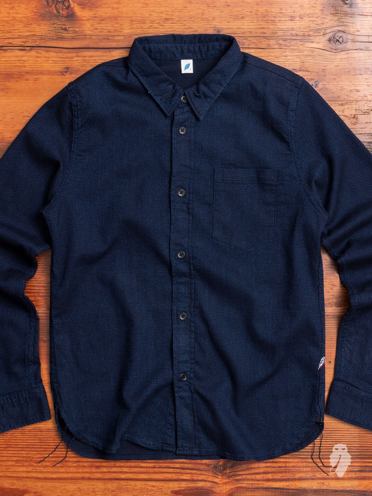 Sashiko Button-Up Shirt in Deep Indigo