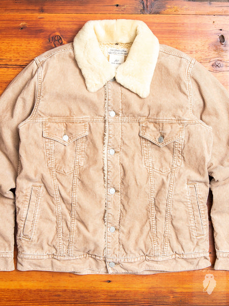 Shearling Corduroy Jacket in Beige