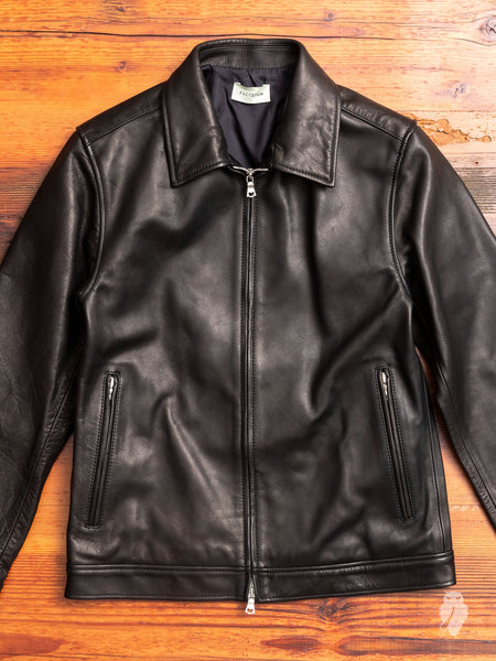 Cowhide Leather Rider's Jacket in Black