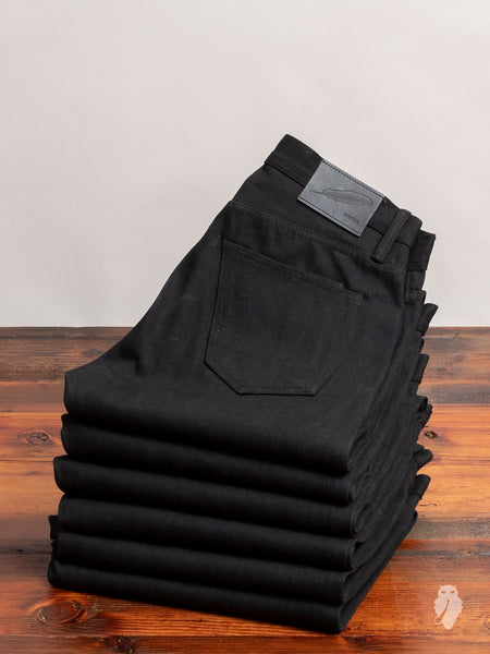 """Stealth"" 15oz Black Selvedge Denim in Standard Issue"