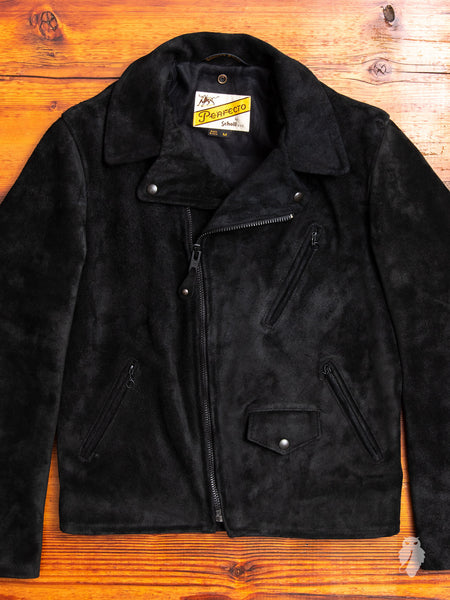 """3sixteen x Schott NYC"" Perfecto Leather Jacket in Black Rough-Out"