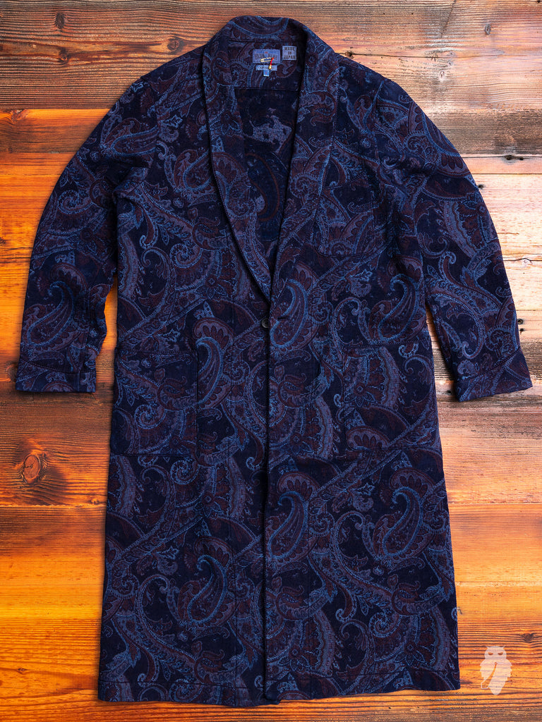 Smoking Gown in Indigo Paisley