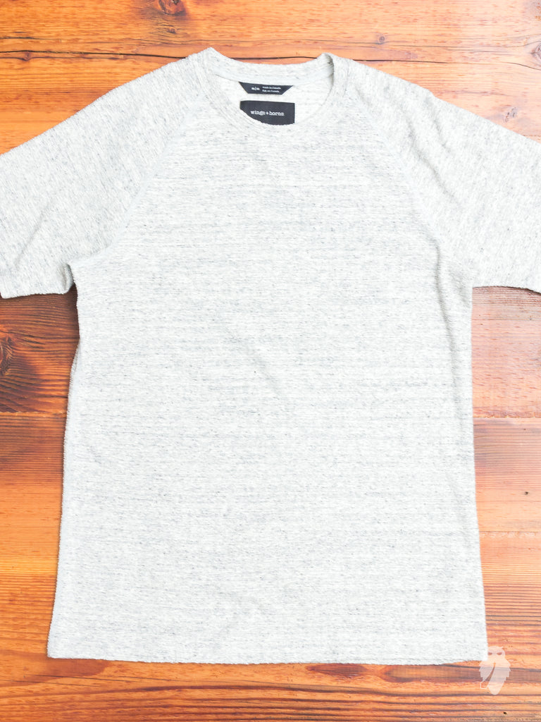 Loop Knit Raglan T-Shirt in Heather Grey