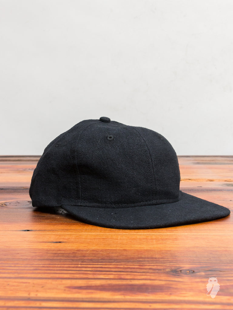 Washed Linen 6-Panel Hat in Black