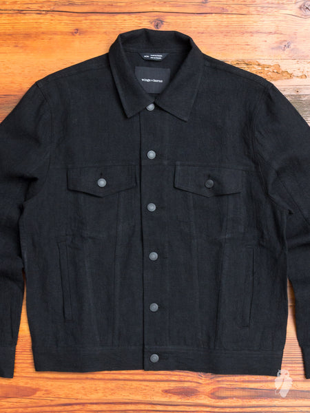 Washed Linen Trucker Jacket in Black
