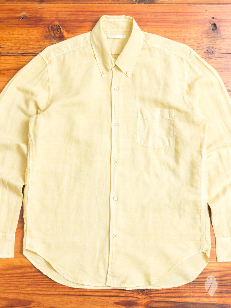 1950s Button Down Shirt in Fade Yellow Linen