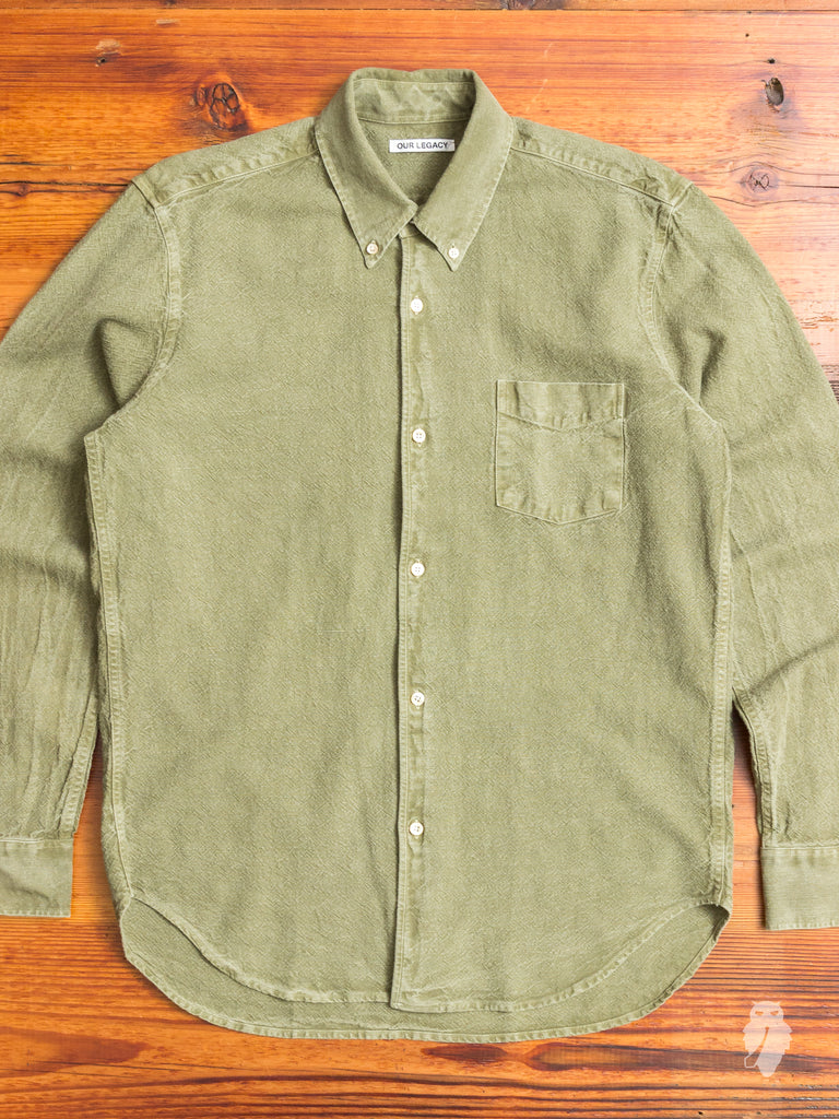 1950s Button Down Shirt in Washed Olive