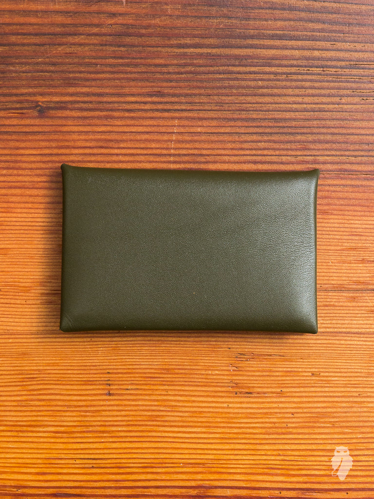 """Chorus"" Leather Cardholder in Military Green"