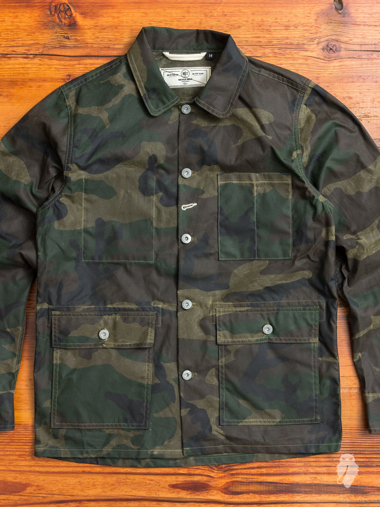 Waxed Canvas Field Jacket in Woodland Camouflage