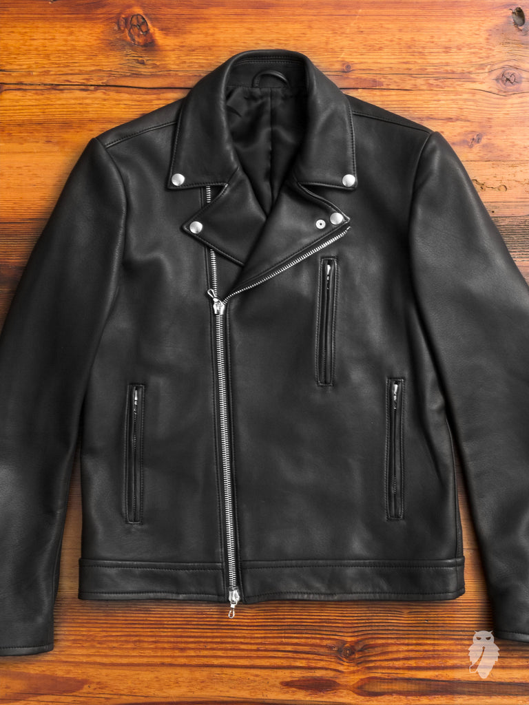 Lamb Leather Double Rider Jacket in Black