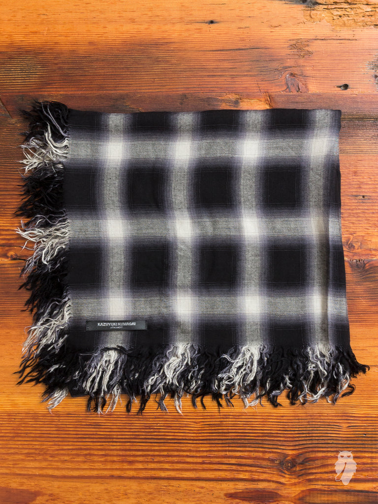 Ombre Check Silk Scarf in Black