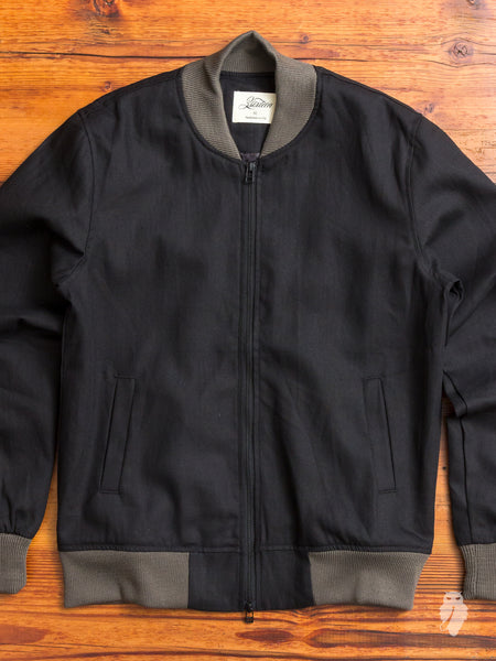 Stadium Jacket in Black Herringbone
