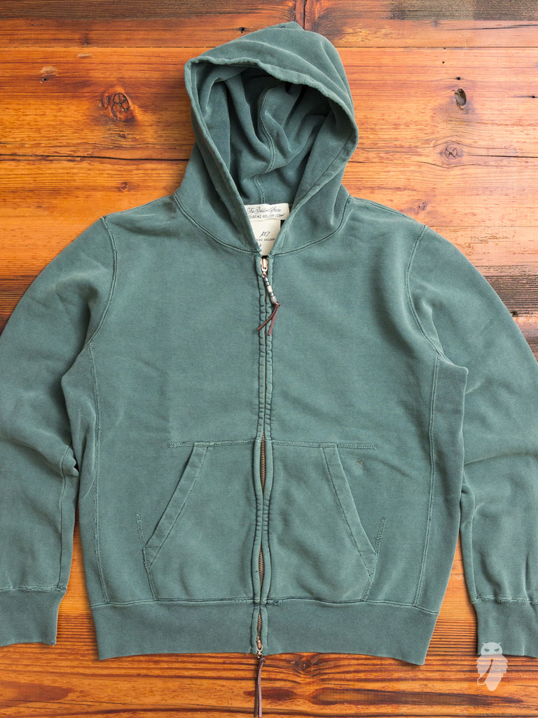 Zip Hoodie in Washed Green