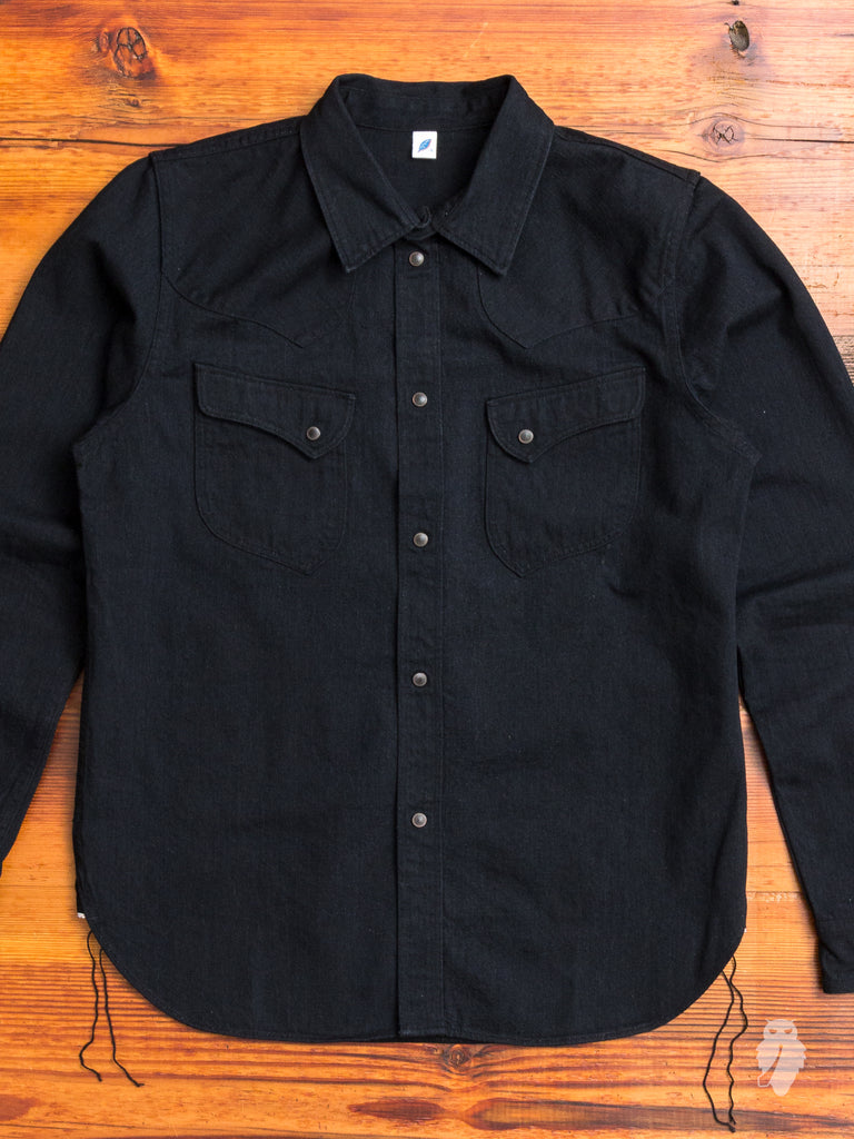 8oz Selvedge Western Shirt in Black