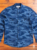 Sashiko Band-Collar Shirt in Indigo Camouflage