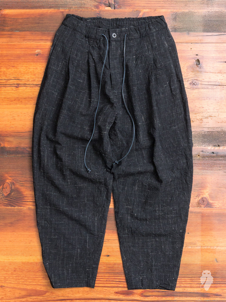 Textured Kasuri Sarouel Pants in Black