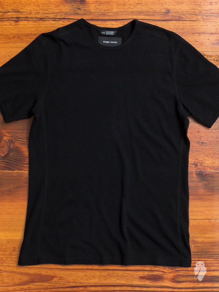 Linen Jersey T-Shirt in Black
