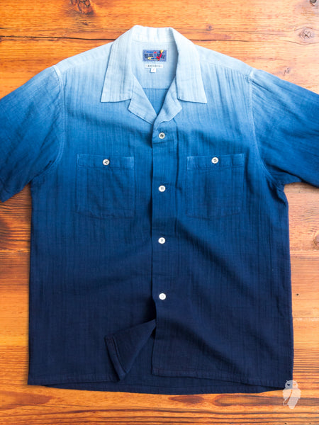 Gradient Dye Cabana Shirt in Indigo