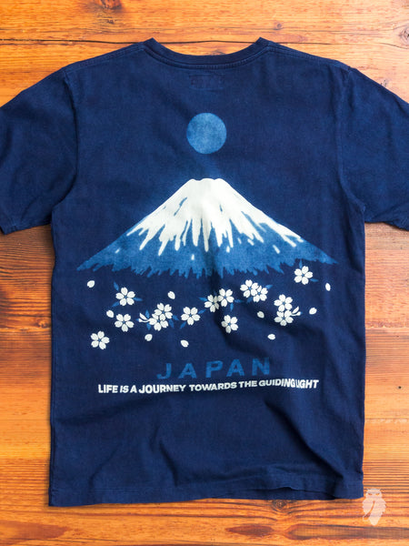 Mt. Fuji Bassen T-Shirt in Indigo