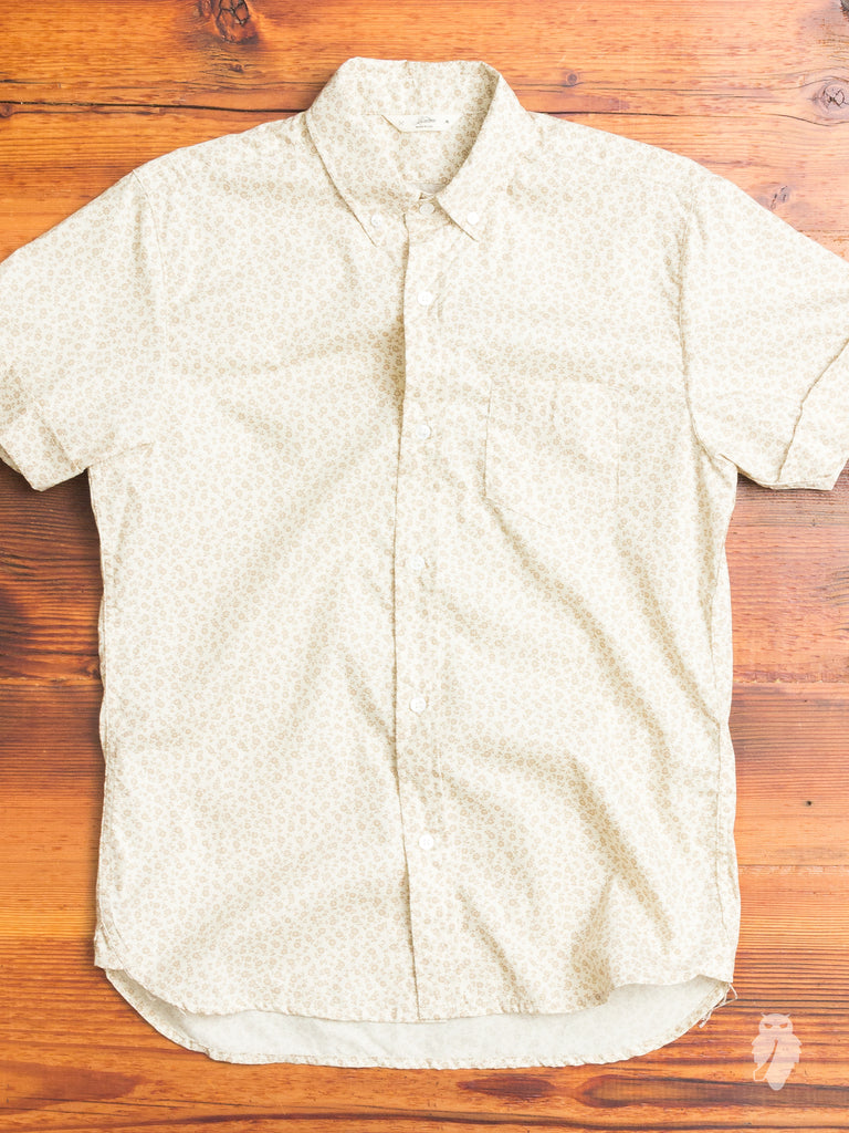 Floral Button-Down Shirt in Tan