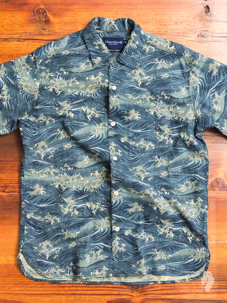 Waves Hawaiian Shirt in Pacific