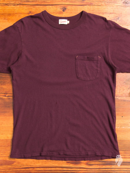 Heavy Gauge Pocket T-Shirt in Burgundy