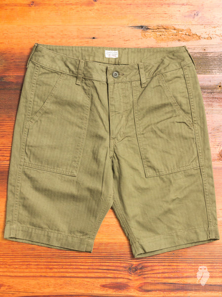 JB5700 Baker Shorts in Olive Herringbone