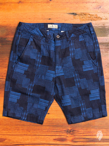 JB5500 Patchwork Shorts in Used Indigo