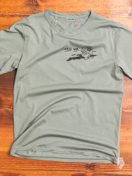 """Hell No"" T-Shirt in Army Green"