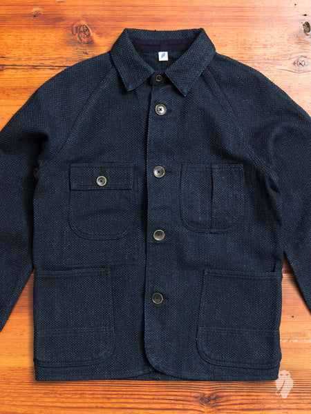 Sashiko Raglan Jacket in Double Indigo