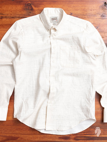 """Mix Twill"" Button Down Shirt in White"