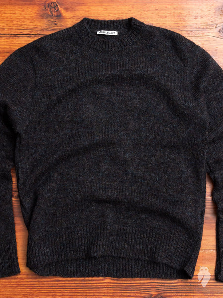 Base Roundneck Sweater in Black Tweed