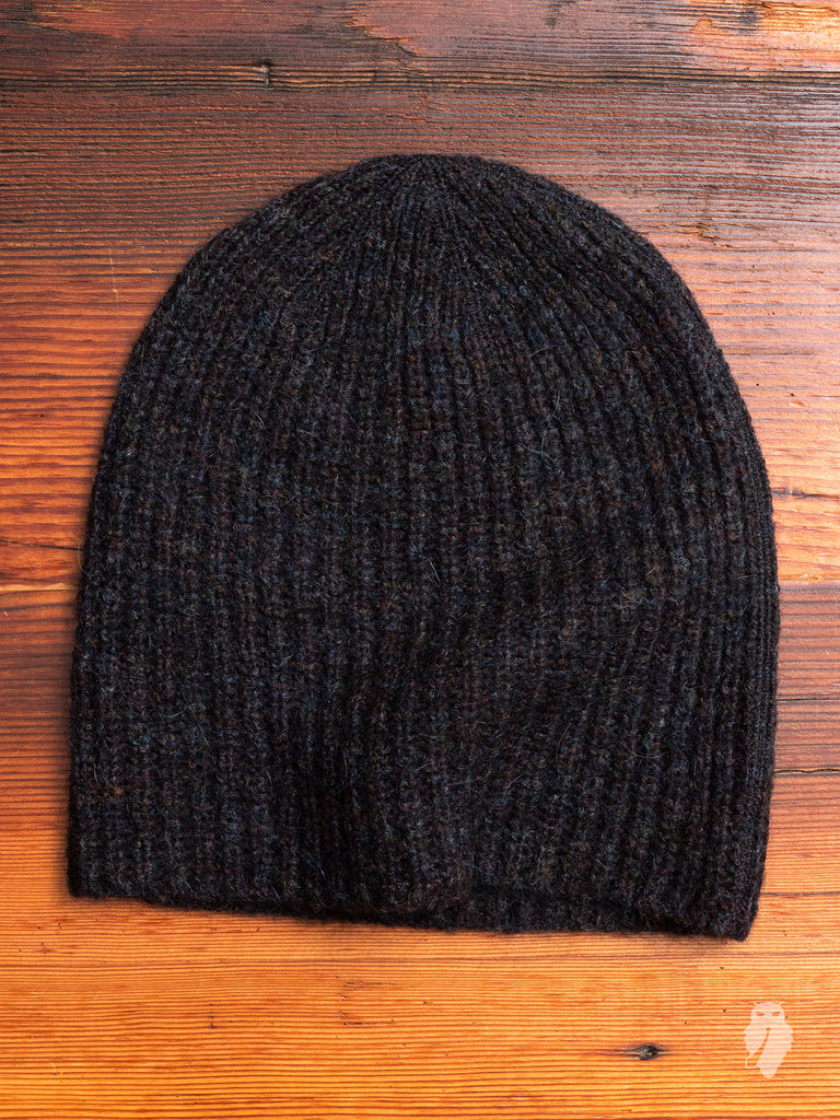 Knitted Hat in Black Tweed