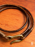 Leather Triple Wrap Bracelet in Distressed Brown