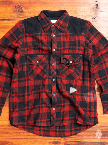 Wool Check Hiking Shirt in Red