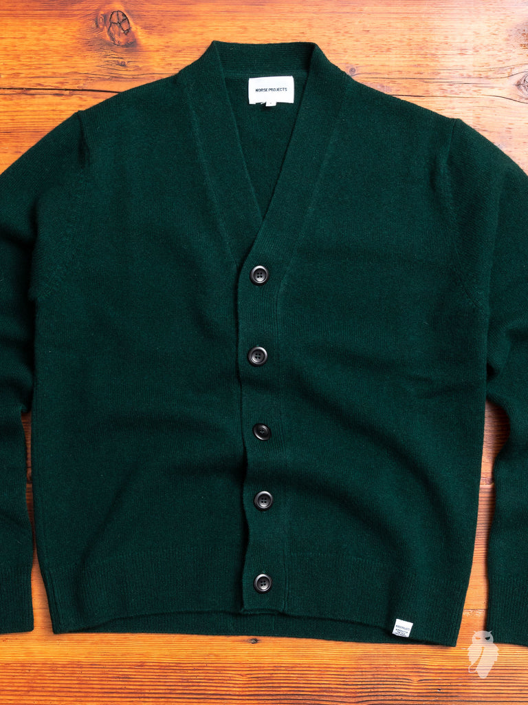 Adam Lambswool Cardigan in Quartz Green