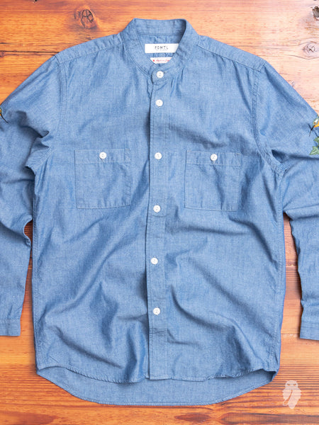 Hummingbirds Band-Collar Shirt in Chambray