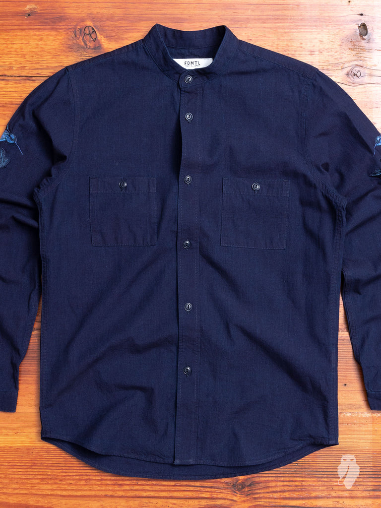 Hummingbirds Band-Collar Shirt in Indigo