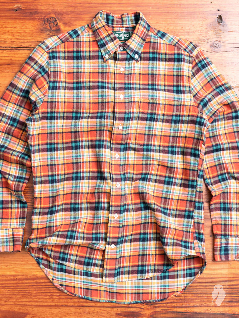 Shaggy Check Flannel in Burnt Orange