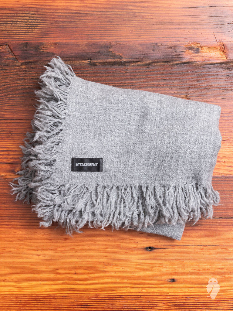 Fine Wool Fringe Scarf in Ice Grey