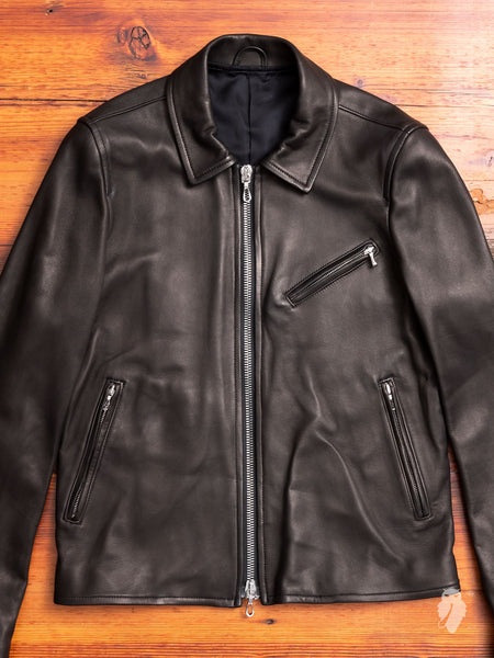 Lamb Leather Rider's Jacket in Black