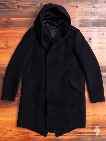 Cashmere Melton Hooded Overcoat in Black