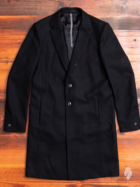 Melton Wool Chesterfield Coat in Black