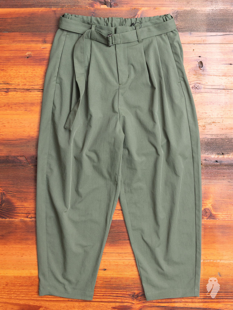 Pleated Relaxed Trouser in Khaki Green