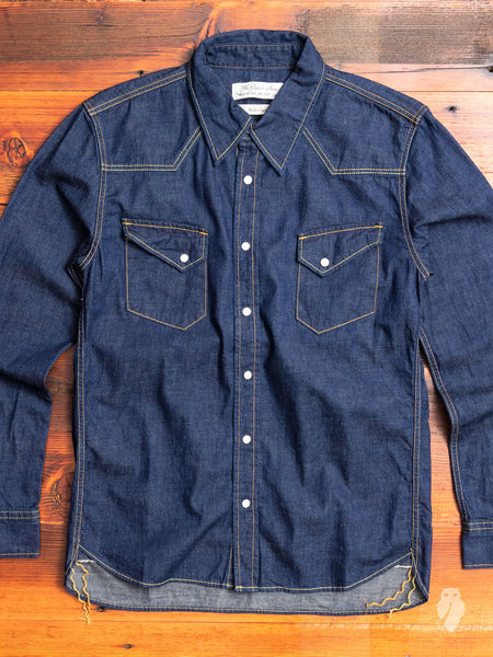 Denim Western Shirt in Rinsed Indigo