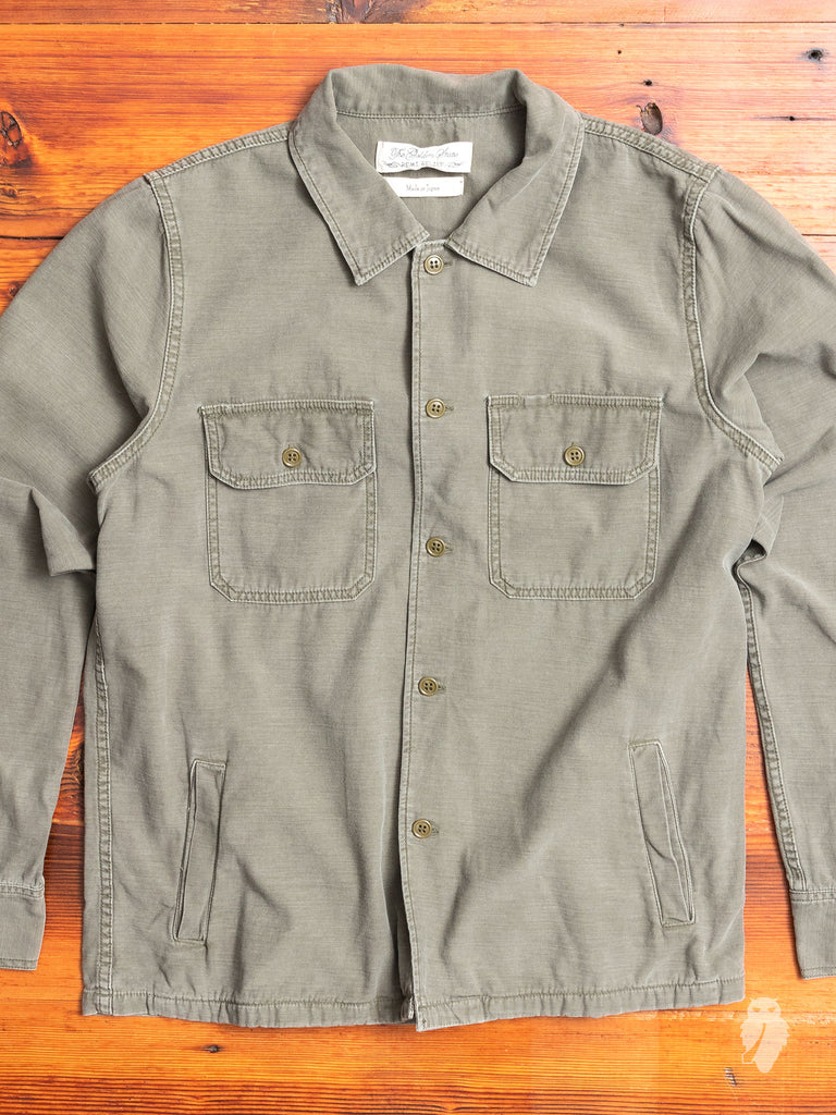 Military Suede Patch Shirt in Khaki