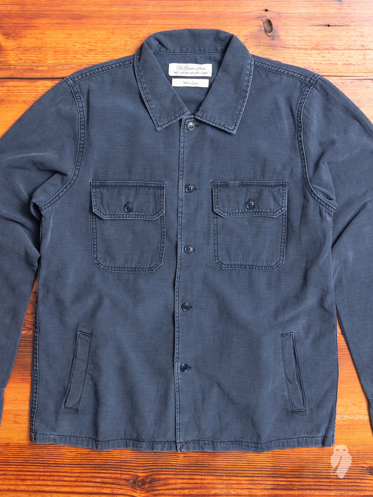 Military Suede Patch Shirt in Navy