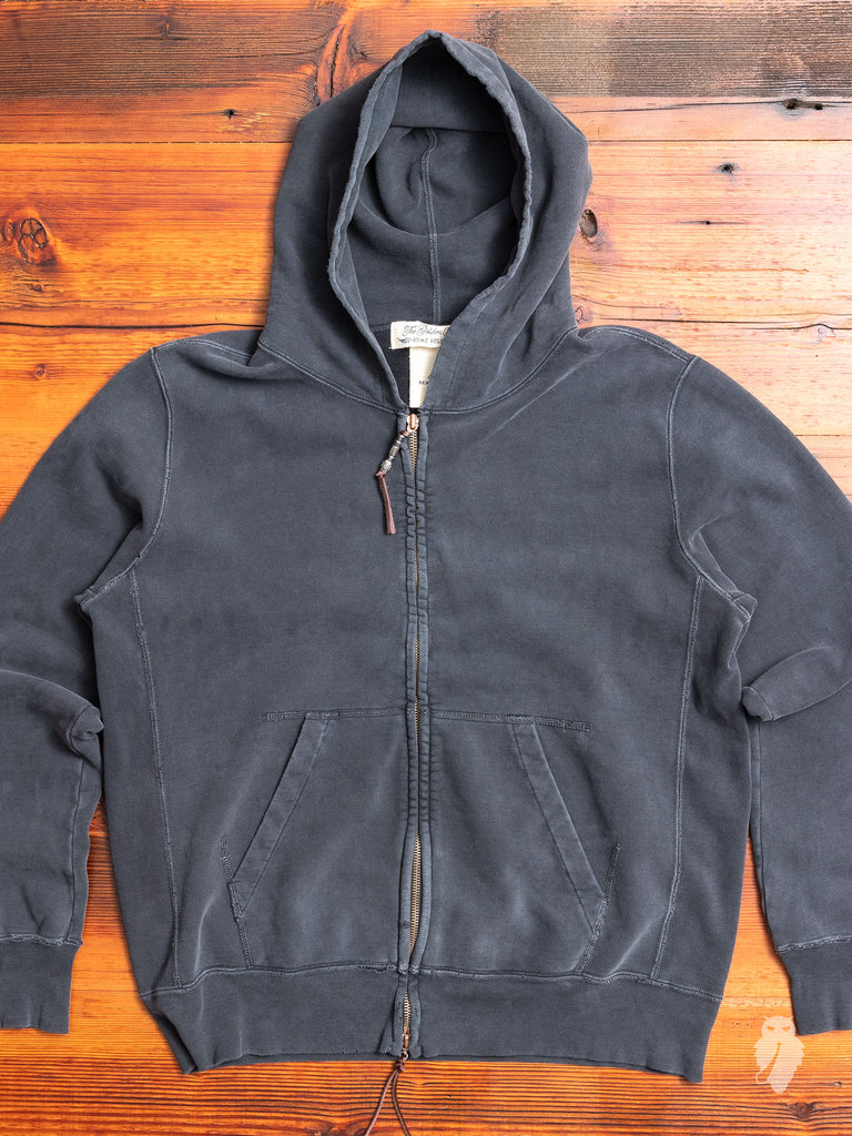 Zip Hoodie in Washed Black