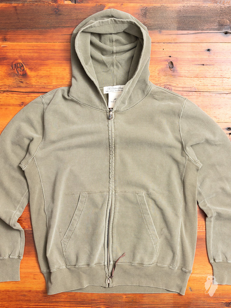 Zip Hoodie in Washed Khaki
